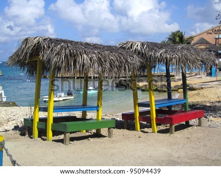 Grand Cayman Island beach stands - stock photo