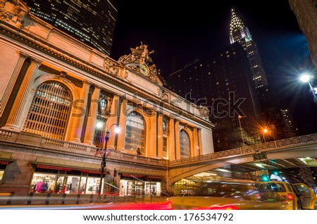 Grand Central along 42nd Street at night, New York City - stock photo