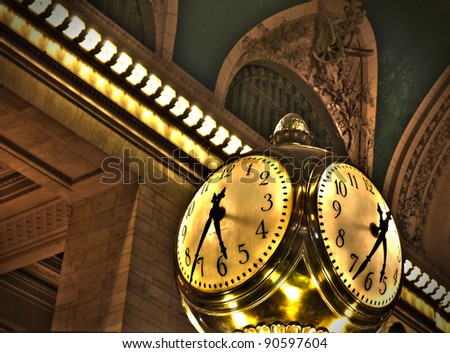 Grand Central Terminal Clock HDR Photo - stock photo