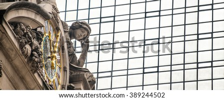grand central terminal outside detail  - stock photo