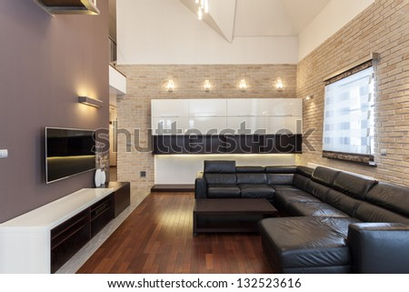 Grand design - Interior of a modern and minimalist house - stock photo