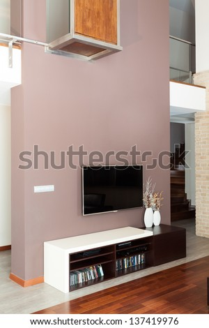 Grand design - Living room with tv - stock photo