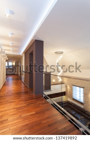Grand design - second floor and living room - stock photo