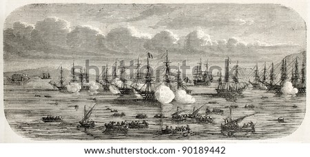 Grand Duke Konstantin Nicolayevich of Russia flotilla entering Toulon harbor. Created by Lebreton after Letuaire, published on L'Illustration, Journal Universel, Paris, 1858 - stock photo