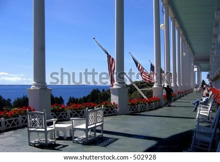 """Grand Hotel on Mackinac Island (from the movie """"somewhere in Time"""") - stock photo"""