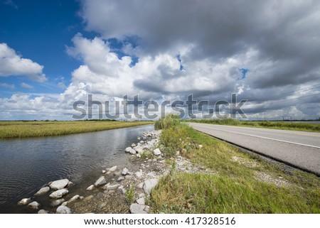 Grand Isle Louisiana Highway One - stock photo