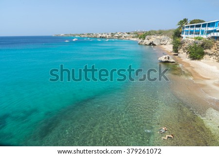 Grand Knip Beach -Views around the Caribbean island of Curacao - stock photo