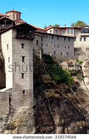 Grand Meteor monastery, from Meteora monastery complex ,Greece. - stock photo