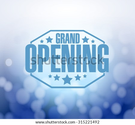grand opening blue bokeh background illustration design - stock photo