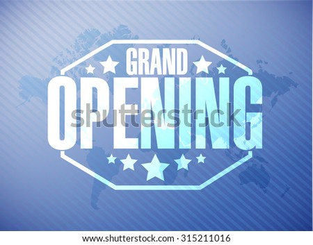 grand opening sign stamp world map background illustration design