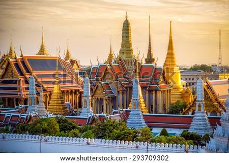 Grand palace and Wat phra keaw at sunset - stock photo