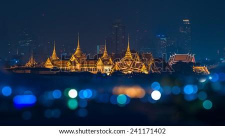 Grand palace at night time in Bangkok, Thailand - stock photo