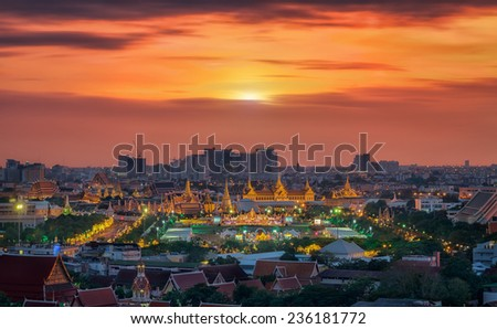 Grand palace at twilight in Bangkok along Thai father's Day our King birthday festival, - stock photo