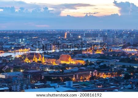 Grand Palace with the river at Dusk (Bangkok, Thailand) - stock photo