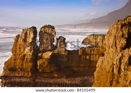 grand Pancake rock canyon of New Zealand, located in west coast in the evening - stock photo