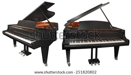 Grand piano isolated on a white background - stock photo
