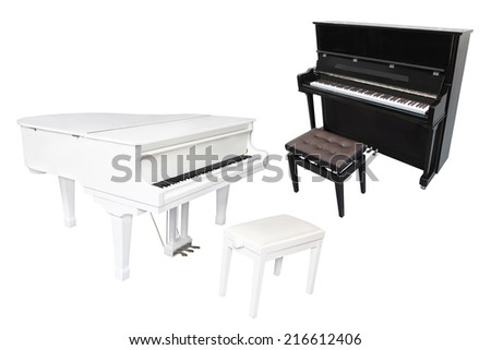 Grand piano isolated under the white background - stock photo