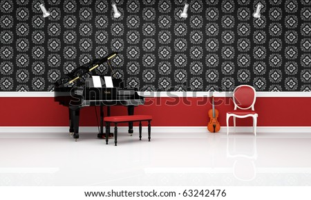 grand- piano violin and red chair in a classic music room