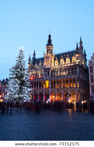 Grand Place, Brussels, at Christmas - stock photo