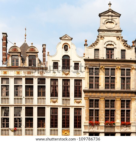 Grand Place Guildhalls - stock photo