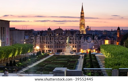 Grand Place, Hotel de Ville - stock photo