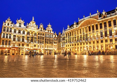 Grand Place in Brussels in night, Belgium - stock photo