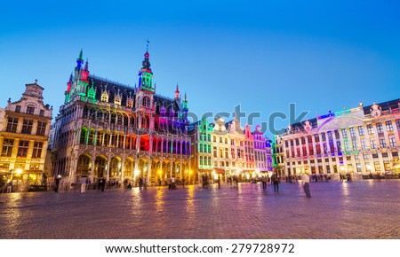 Grand Place in Brussels with colorful lighting, Belgium - stock photo