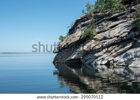 Grand Portal Point morning at Lake Superior Pictured Rocks National Lakeshore - stock photo