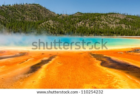 Grand Prismatic Spring at the Midway Geyser Basin in Yellowstone National Park, Wyoming - stock photo