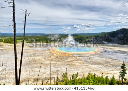Grand Prismatic Spring from Picture Hill, Yellowstone National Park, Montana - stock photo