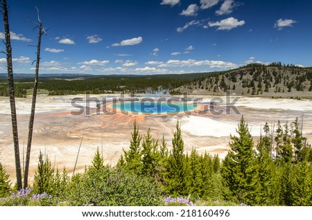 Grand Prismatic Spring in Yellowstone National Park bird view - stock photo