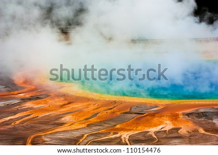Grand Prismatic Spring, Midway Geyser Basin - stock photo