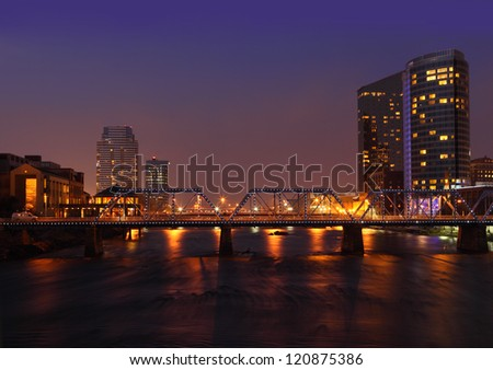 Grand Rapids city at night in Michigan USA - stock photo