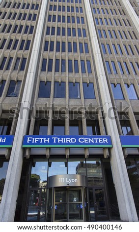 Grand Rapids, Michigan, USA - September 17, 2016: Vertical orientation of the front main entrance to the Fifth Third Bank building located in downtown Grand Rapids, Michigan.