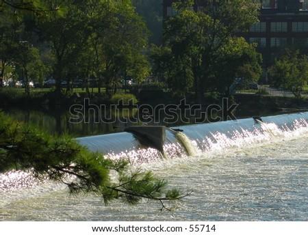 Grand River in Grand Rapids Michigan - stock photo