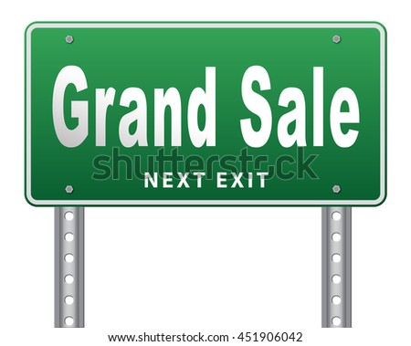 Grand sale, sales and reduced prices and sellout, billboard road sign. 3D illustration, isolated, on white  - stock photo