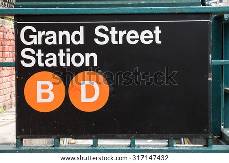 Grand Street subway station in New York City. - stock photo