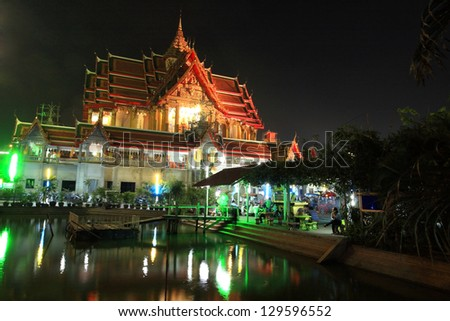 Grand temple of wat Bua Khwan on Magha Puja Day in Nonthaburi, Thailand - stock photo