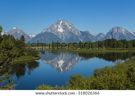 Grand Teton, most photographed mountain in Wyoming, in Grand Teton National Park as seen from Oxbow Curve