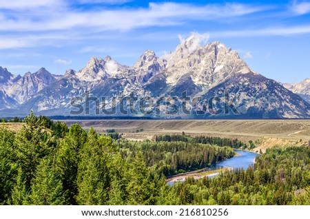 Grand Teton mountains scenic view with Snake river, Wyoming, USA - stock photo
