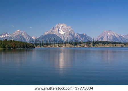 Grand Teton National Park, reflection of the mountain in the calm lake