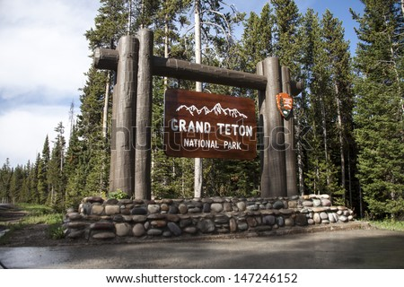 Grand Teton National Park sign - stock photo