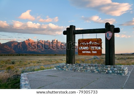 Grand Teton National Park sign in Wyoming. - stock photo