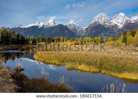 Grand Tetons and the Snake River - stock photo