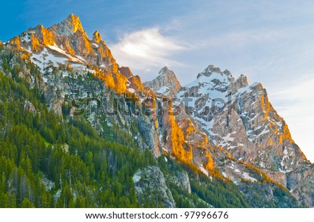Grand Tetons Peak as seen from the Inspiration Point - stock photo