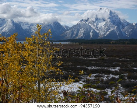 Grand Tetons with snow