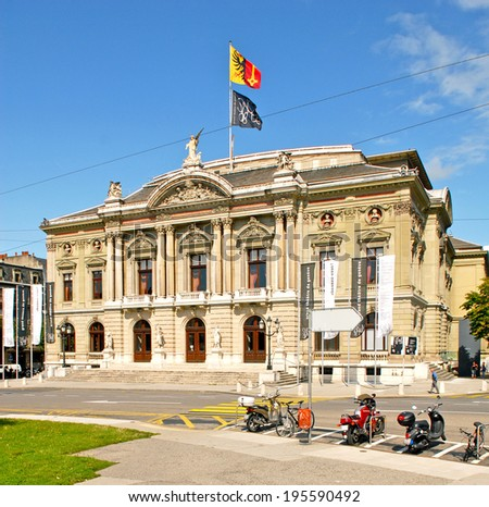 GRAND THEATRE DE GENEVE, GENEVA/SWITZERLAND - AUGUST 20, 2006: Opera house situated in Place Nueve built in 1876 houses one of the largest stages in Switzerland. August 20, 2006, Geneva, Switzerland - stock photo