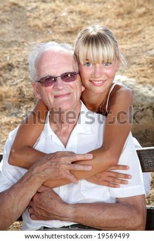 granddad and granddaughter - stock photo