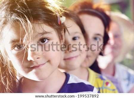 granddaughter, sister, mother and grandmother (portraits) - stock photo