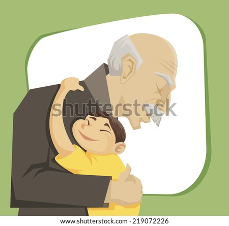 grandfather and grandchild gives each other family hugs - stock photo